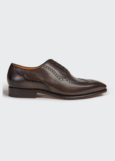 Men's Milano Wing-Tip Hand-Burnished Leather Oxford Shoes