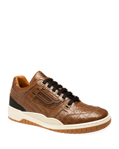 Men's Kuba Croc-Embossed Leather Sneakers