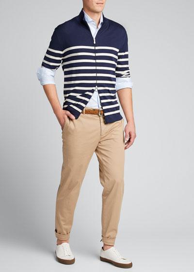 Men's Striped Zip-Front Cardigan Sweater