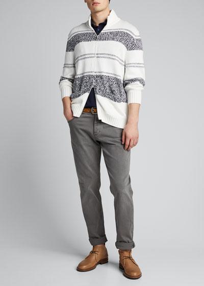 Men's Striped Zip-Front Cardigan