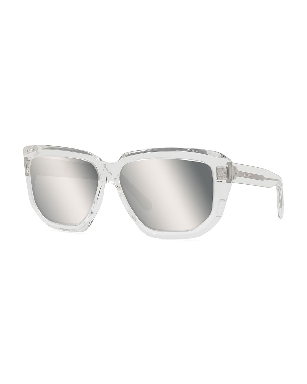 Celine Sunglasses MEN'S MIRRORED SQUARE TRANSPARENT ACETATE SUNGLASSES