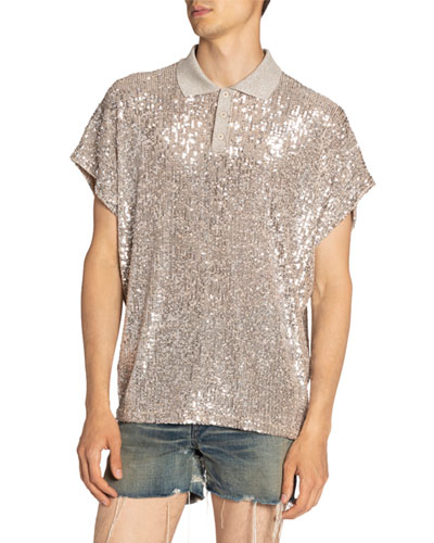 Men's Sequined Polo Shirt