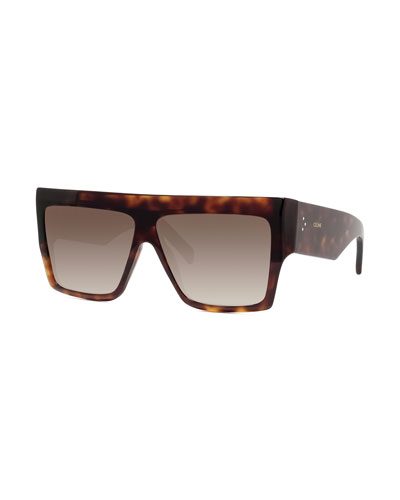 Men's Chunky Rectangle Gradient Havana Sunglasses