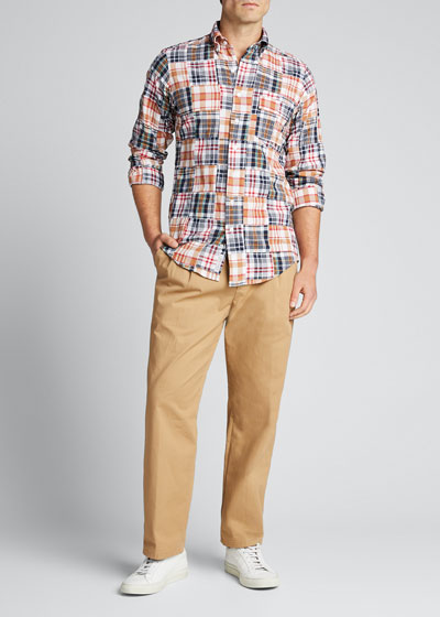 Men's Patchwork Madras Plaid Sport Shirt
