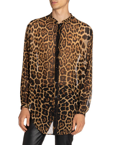 Men's Leopard Sheer Silk Shirt