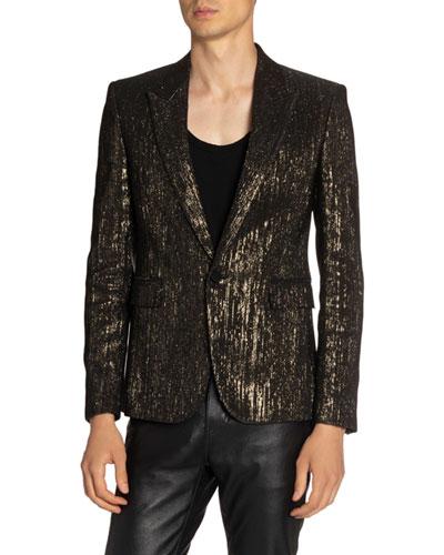 Men's Metallic-Stripe Evening Blazer