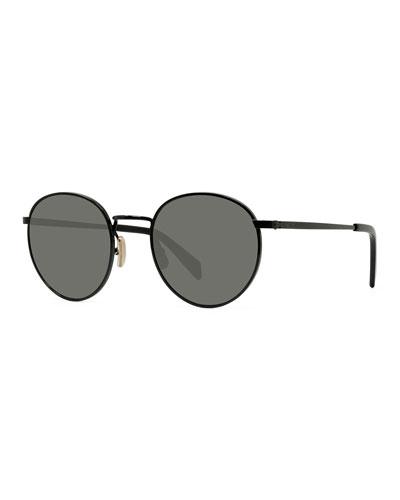 Men's Round Metal Smoke Sunglasses
