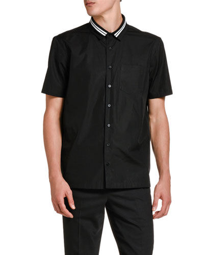 Men's Striped-Collar Stretch-Poplin Sport Shirt