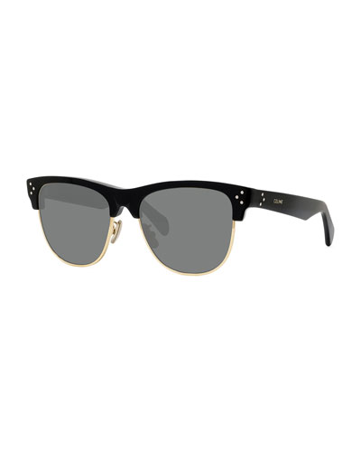 Men's Round Studded Two-Tone Sunglasses