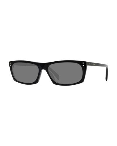Men's Rectangle Studded Acetate Sunglasses