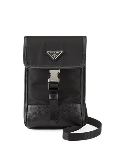 Men's Leather-Trim Crossbody Bag