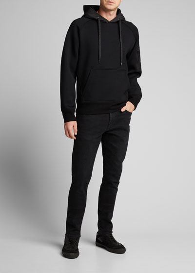 Men's Pullover Hoodie Sweatshirt with Technical Patches