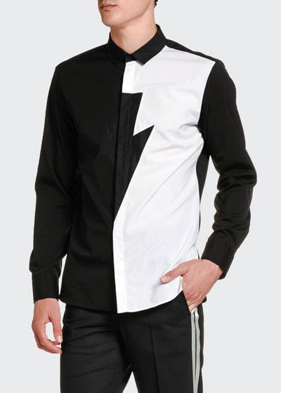 Men's Two-Tone Half Thunderbolt Sport Shirt