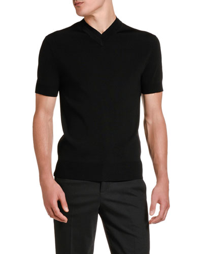 Men's Double V-Neck Solid T-Shirt