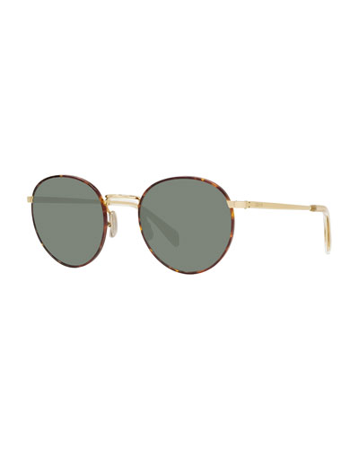 Men's Round Havana Acetate & Metal Sunglasses