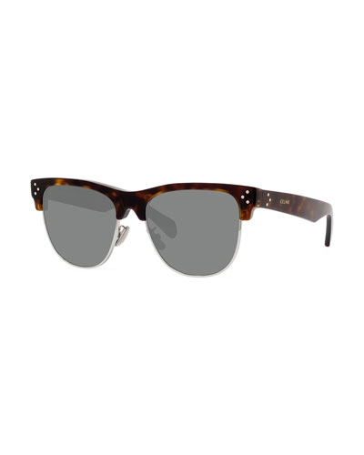 Men's Studded Havana Half-Rim Sunglasses