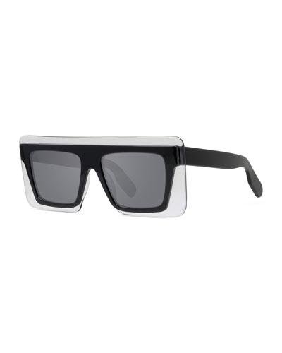 Men's Rectangle Shield Acetate Sunglasses