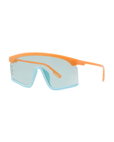 Men's Two-Tone Acetate Shield Sunglasses