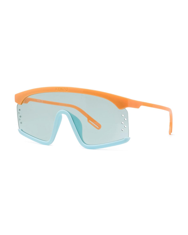 Kenzo Sunglasses MEN'S TWO-TONE ACETATE SHIELD SUNGLASSES