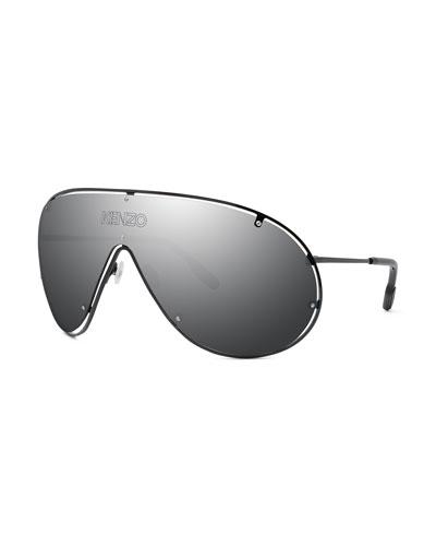 Men's Mirrored Shield Logo Sunglasses
