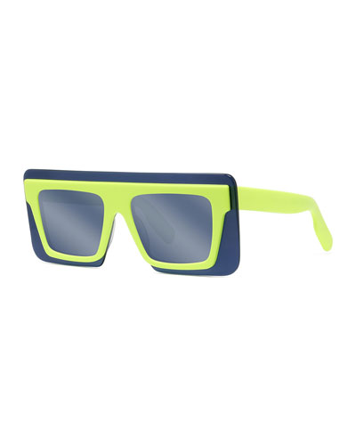 Men's Rectangle Shield Fluo Acetate Sunglasses - Flash Lens