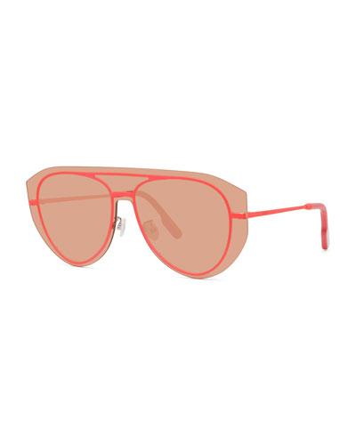 Men's Pilot Fluo Metal Aviator Shield Sunglasses