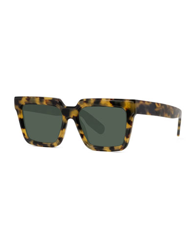 Men's Square Havana Acetate Sunglasses