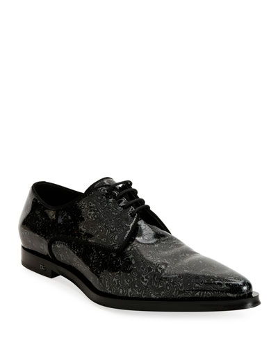 Men's Printed Patent Leather Point-Toe Derby Shoes