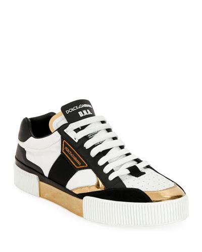 Men's Millennials Star DNA Leather Sneakers w/ Metallic Trim