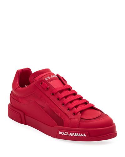 Men's Portofino Tonal Mesh & Leather Sneakers