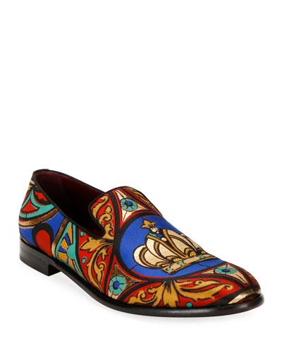 Men's King Vetrate Printed Formal Slippers