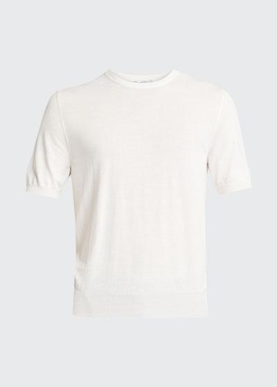Men's Solid Long-Sleeve Crepe T-Shirt