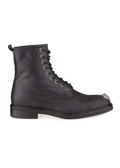 Men's Leather Medusa Combat Boots