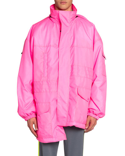 Men's Asymmetric-Hem Neon Puffer Coat