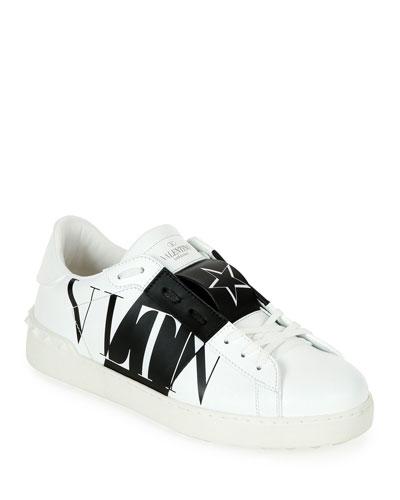 Men's Rockstud Walker Leather Sneakers