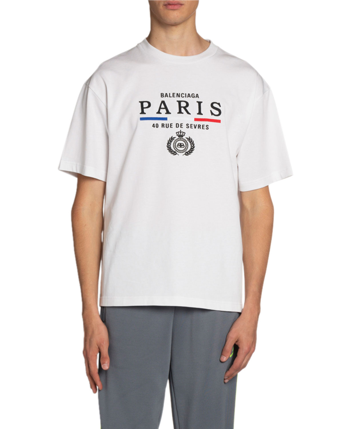 Balenciaga T-shirts MEN'S PARIS FLAG CREWNECK T-SHIRT