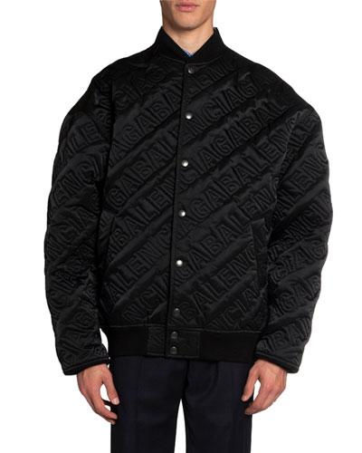 Men's Embossed Logo Snap-Front Bomber Jacket