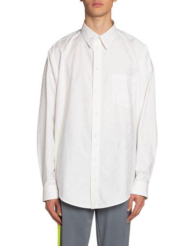 Men's Logo Poplin Cocoon Sport Shirt