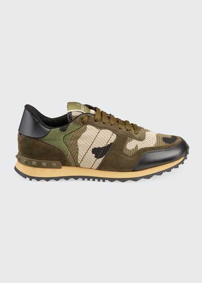 Men's Rockrunner Mixed-Media Camo Sneakers