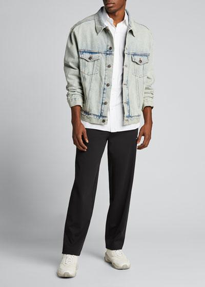 Men's Bleach-Washed Fluo-Logo Denim Jacket