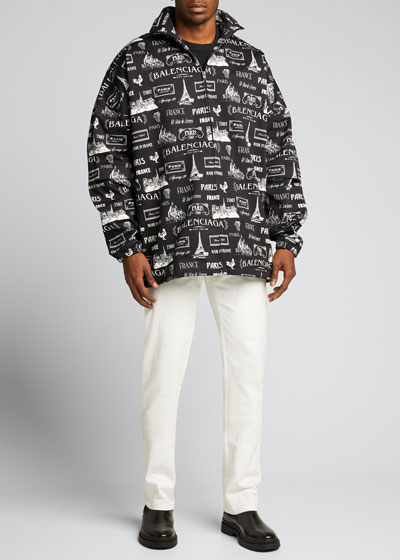Men's Contrast-Taping Zip-Front Track Jacket