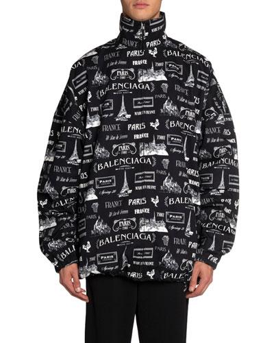 Men's Logo-Print Jersey Check Jacket