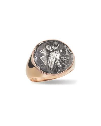 Men's 18k Rose Gold Ancient Coin Signet Ring