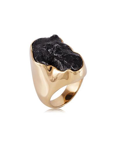 Men's 18K Yellow Gold Sikhote-Alin Meteorite Ring