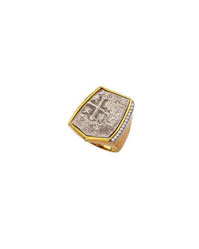 Men's 18k Gold Ancient Coin Signet Ring with Diamond Inset