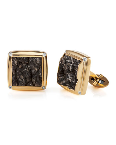 Men's 18K Yellow Gold Obsidian & Diamond Cufflinks