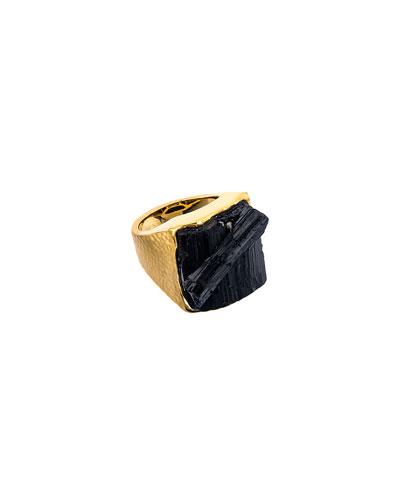 Men's 18K Yellow Gold Tourmaline Ring