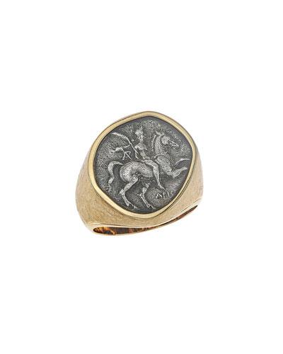 Men's 18k Gold Ancient Coin Signet Ring