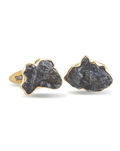 Men's Iron Meteorite 18k Gold Cufflinks