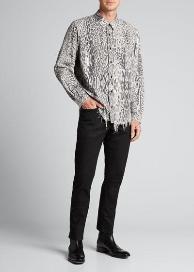 Men's Leopard-Print Flannel Sport Shirt